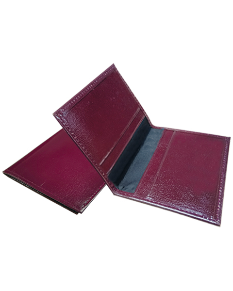 Leather Card Holder Fold Maroon