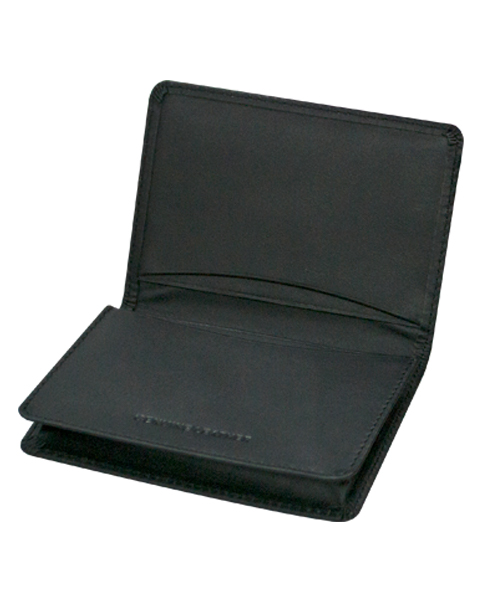 Leather Collapsible Card Holder Black